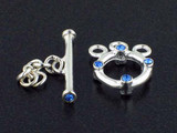 3-Strand Sterling Silver Toggle With Faceted Sapphire Austrian Crystal - Pkg Of 3 (Closeout)