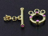 3-Strand 18k Gold-Plated Toggle With Faceted Rose Austrian Crystal - Pkg Of 2 (Closeout)