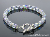 4mm Blackened Finish Sapphire Austrian Crystal Squaredelles - Pkg Of 15 (Closeout)