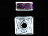 6mm Silver Plated Finish Amethyst Austrian Crystal Squaredelles - Pkg Of 15 (Closeout)