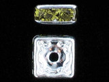 6mm Silver Plated Finish Olivine Austrian Crystal Squaredelles - Pkg Of 15 (Closeout)