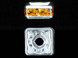 6mm Silver Plated Finish Topaz Austrian Crystal Squaredelles - Pkg Of 15 (Closeout)