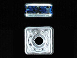 8mm Silver Plated Finish Montana Austrian Crystal Squaredelles - Pkg Of 12 (Closeout)