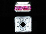 8mm Silver Plated Finish Rose Austrian Crystal Squaredelles - Pkg Of 12 (Closeout)