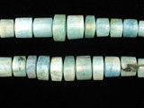 10 Count Varied Size Aquamarine Smooth Triangular Cylinders (Sale)