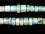10 Count Varied Size Aquamarine Smooth Triangular Cylinders (Sale)