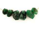 6 Count Varied Size Green Emerald Side Drill Simple Cut Nuggets (Sale)