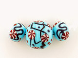 3 Count Two Size Light Blue Eric Seydeaux's Glass Smooth Round Beads '1 Of A Kind Set' (Sale)