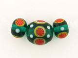 3 Count Two Size Green Eric Seydeaux's Glass Smooth Round Beads '1 Of A Kind Set' (Sale)