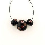 3 Count Two Size Black Eric Seydeaux's Glass Smooth Round Beads '1 Of A Kind Set' (Sale)