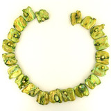 19 Ct Large Top Drilled Lime Green  Pearl Baroque Squares (Sale)