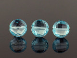 3 Count 10mm Light Swiss Blue Topaz Faceted Coins (Sale)