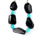 9 Count Amazonite Ovals & Obsidian Simple Cut (Sale)