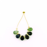 6 Count Varying Sizes Green Tourmaline Faceted Briolettes (Sale)