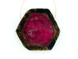 1 Count Dark Pink And Green Watermelon Tourmaline Polished Slice 'One Of A Kind' (1) (Sale)