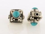 6 Count 11x12mm Indian Silver Turquoise Inlay Hollow Square