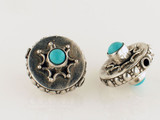 2 Count 20x17mm Indian Silver Turquoise Inlay Hollow Coin