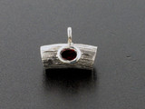 2 Count Sterling Silver With Garnet Curved Tube Beads (Closeout)