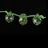 3 Count 9x7mm Apple Green Cz Faceted Briolettes (Sale)