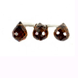 3 Count 9x7mm Brown Cz Faceted Briolettes (Sale)