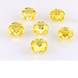 6 Count 8mm Canary Yellow Cz Faceted Rondelles (Sale)