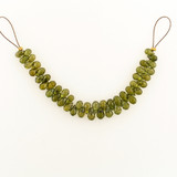 46 Count 5-8mm Olive Green Cubic Zirconia Faceted Briolettes (Sale)