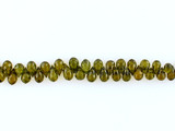 53 Count 4-6mm Olive Green Cubic Zirconia Faceted Briolettes (Sale)