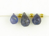 3 Count Varied Sizes Blue Tanzanite Faceted Briolettes (Sale)