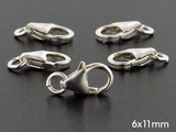 10 Count 6 x 11mm Sterling Silver Lobster Claw Clasp (Closeout)