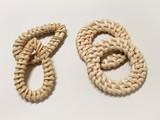 Handmade Rattan Woven Straw Teardrop Pendant/Connector Jewelry Element - 2pc