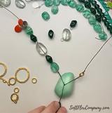 Czech Glass Emerald Green Double Pyramid Beads
