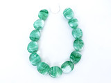 Czech Glass Green And White Twisted Oval Beads