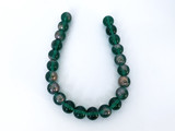 Czech Glass Emerald Green and Gold Round Beads
