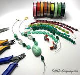Czech Glass Emerald Green and Gold Round Beads