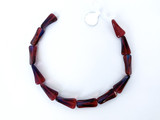 Czech Glass Garnet Three Dimensional Triangle Beads