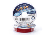 Soft Flex Kink Resistant Knot Tying Hypoallergenic Jewelry Making Wire, 49 Strand Braided Stainless Steel Beading Wire, .019 Medium Diameter, 10 ft Red Coral  Color Nylon Coating