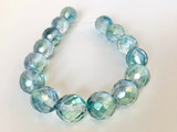 13mm Faceted Round Blue-Green Fire Polished Czech Glass Beads