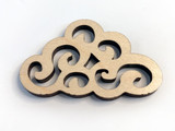 Summer Rain Laser Cut Wood Artisan Cloud Pendant