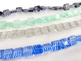 10mm Assorted Colors Czech Glass Flat Square 22 Count Strand