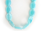 14x11mm Turquoise Czech Glass Table Cut Dotted Ovals 14 Count Strand