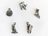 Antique Silver Plated Halloween Charms for Holiday Crafts and Jewelry, 1 Count