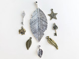 10x29mm Antique Brass Plated Charm, Leaf, 1 Count