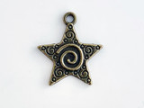 20x25mm Antique Brass Plated Charm, Star, 1 Count