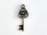 10x25mm Antique Brass Plated Charm, Key, 1 Count