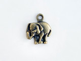 12x15mm Antique Brass Plated Charm, Elephant, 1 Count