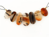 7 Count Varied Size Moss Agate Smooth Side Drilled Ovals (Sale)