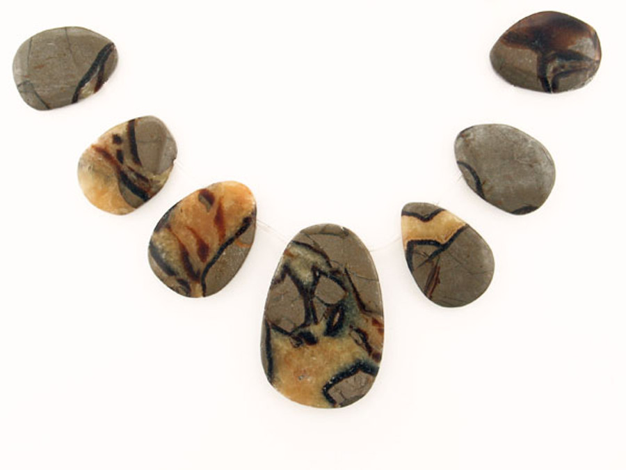 13 Count Graduated  Brown Septarian Polished Slabs (Sale)