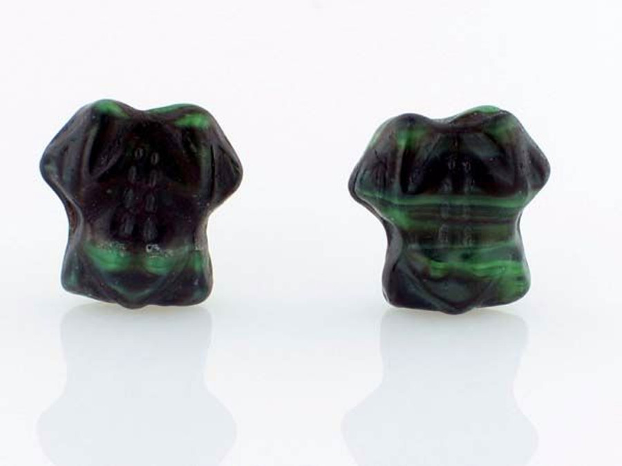 12 Count Czech Glass Dark Green Frog Beads (Closeout)
