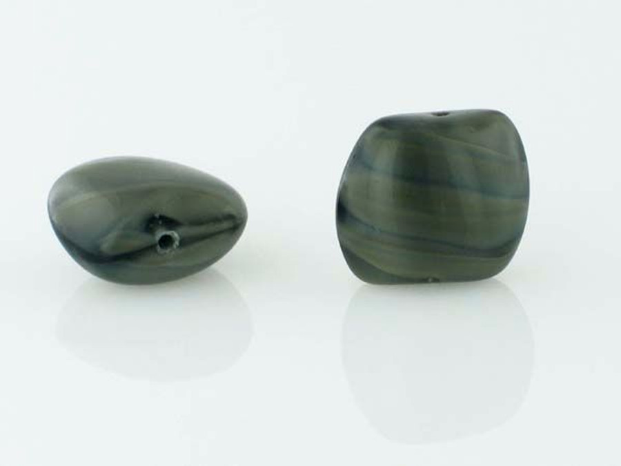 15 Count 13mm Black And Grey Czech Glass Pillow Twist  (Closeout)