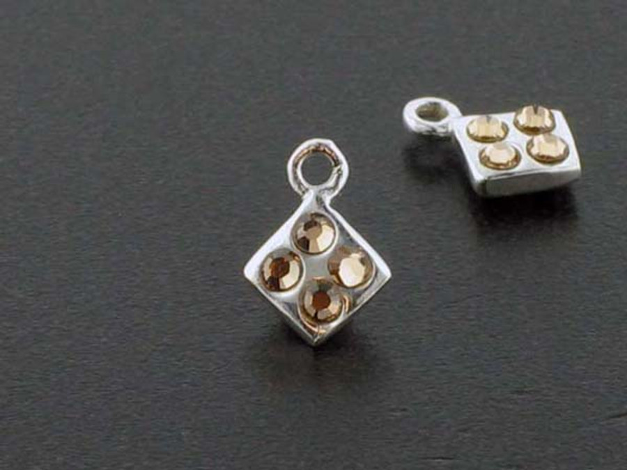 Diamond Sterling Silver Charm With Faceted Light Colorado Topaz Austrian Crystal - Pkg Of 10 (Closeout)